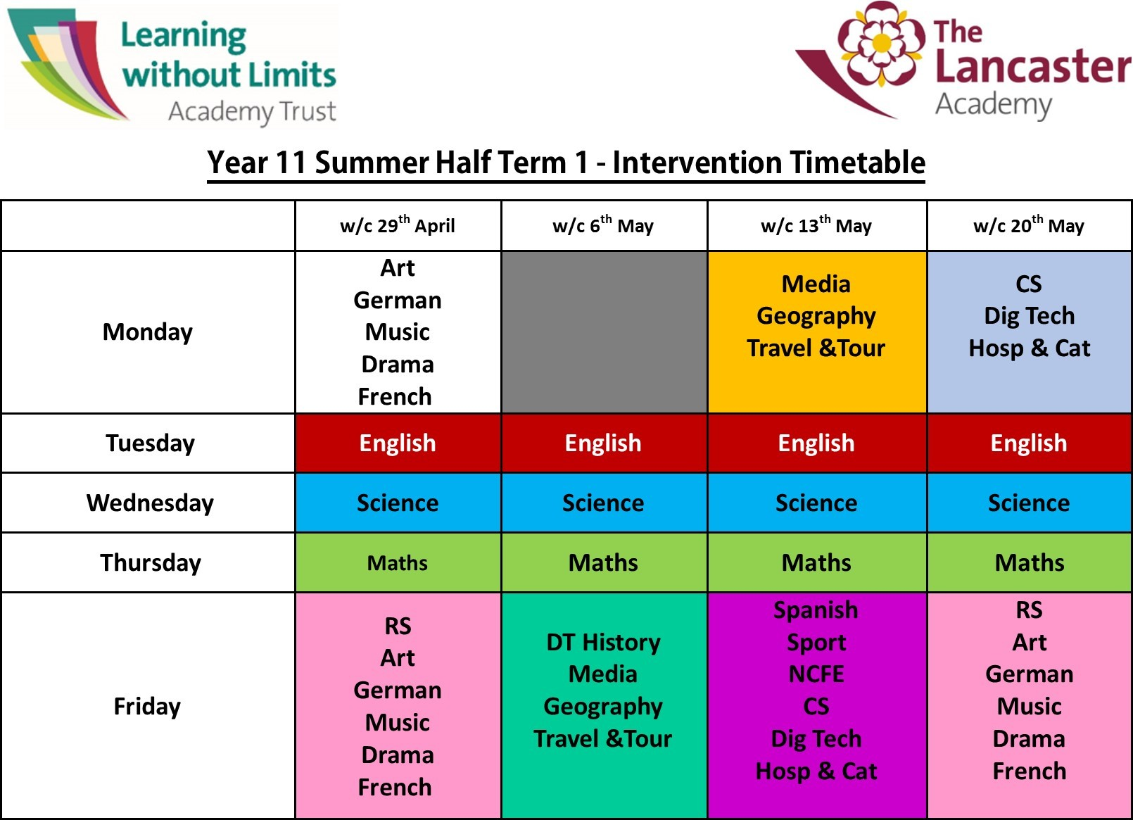 Summer Half Term 1 Intervention Timetable