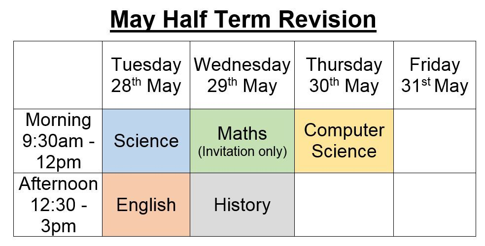 May half term intervention 2