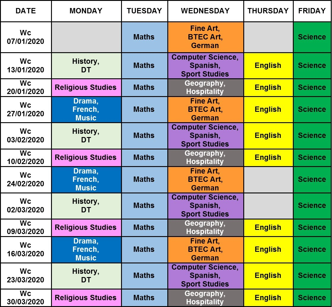 2020 Year 11 Intervention Timetable
