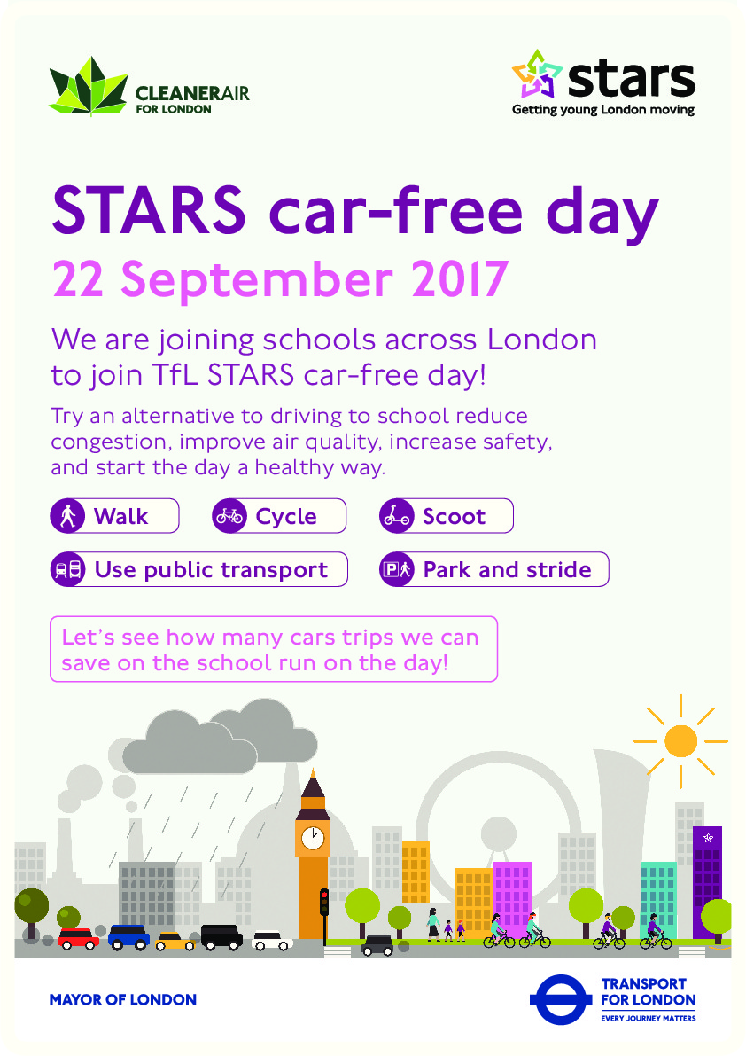 Stars car free day school poster