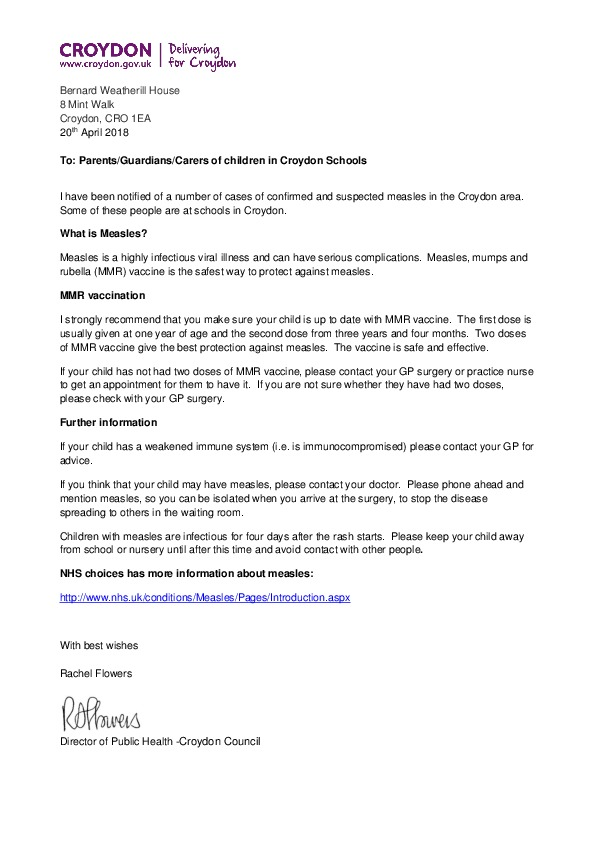 Final Letter for Parents Guardians and Carers in Croydon Schools  re Mea...