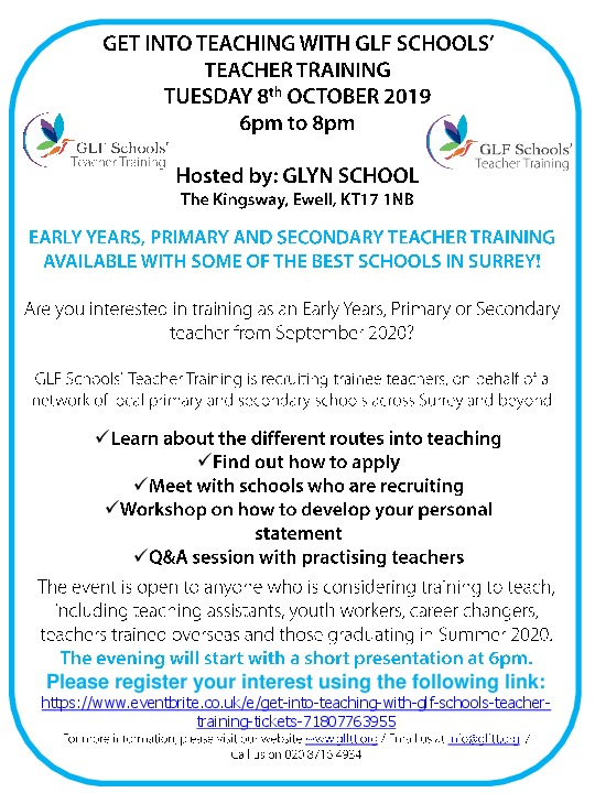 Get into teaching 8 october 2019 flyer