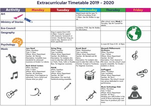 EXTRACURRICULAR TIMETABLE 2019 2020 Page 1 copy