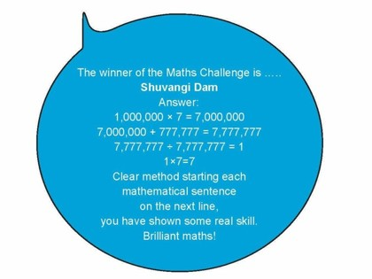 Maths challenge winner