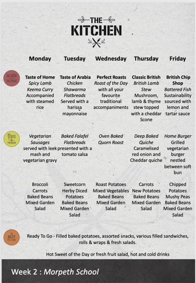 LUNCH MENU WK 2