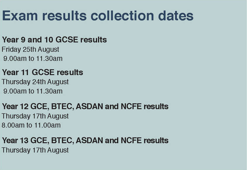 Exam Results dates 2017