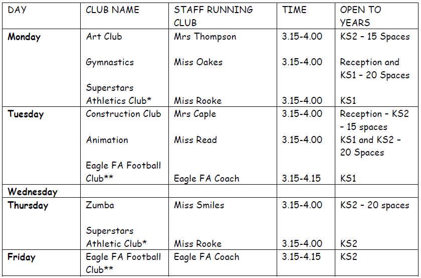 Clubs Summer Term
