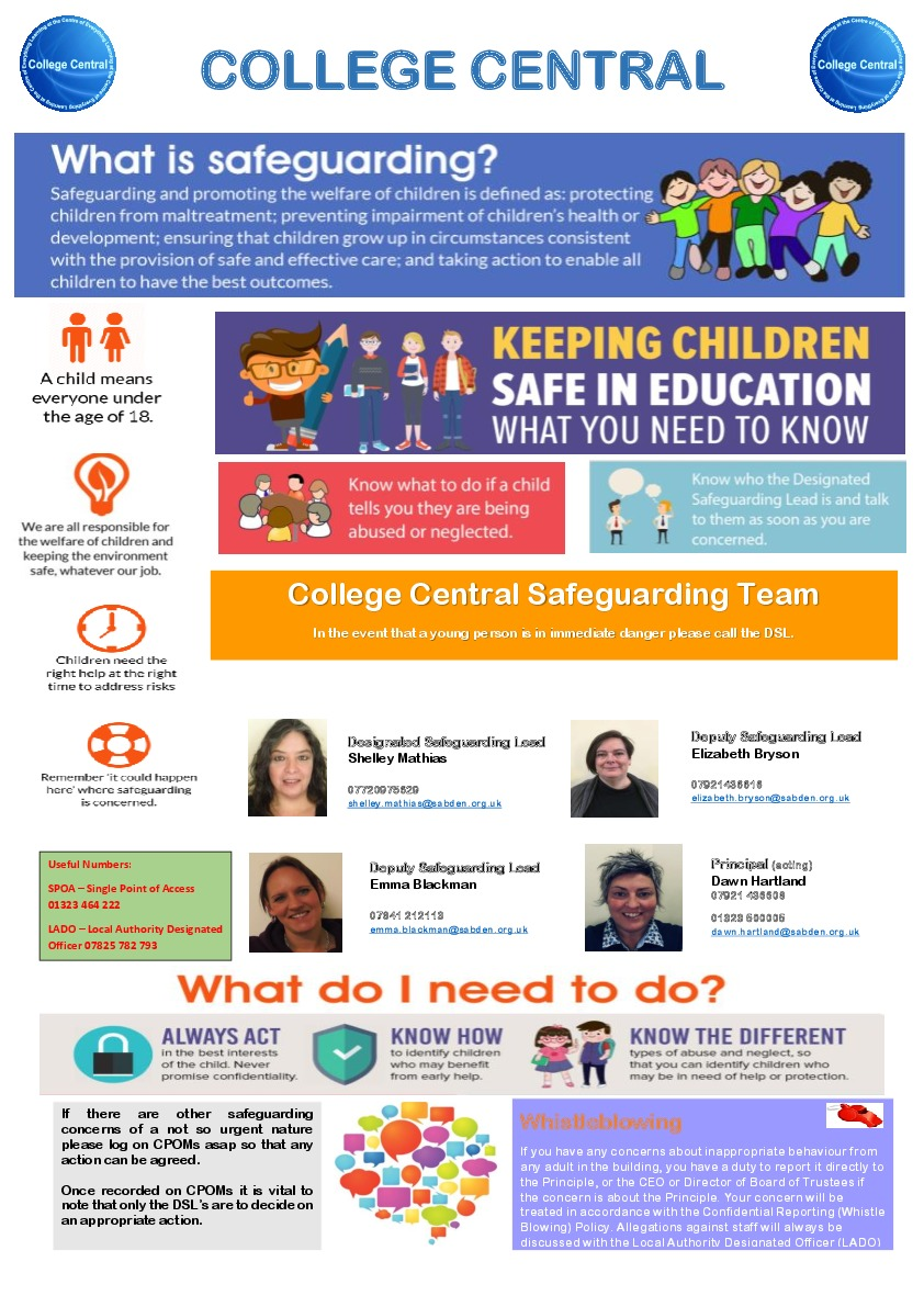 College central safeguarding poster a3