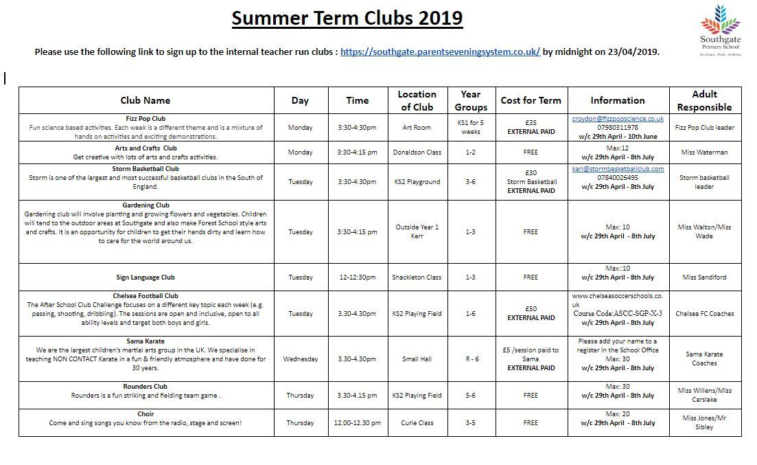 Summer term clubs 2019
