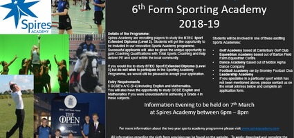 Sporting Academies - The new 6th Form Course at Spires Academy