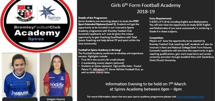 Girls Football Academy - A new 6th Form Course at Spires Academy