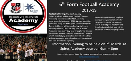 Football Academy - A new 6th Form Course at Spires Academy