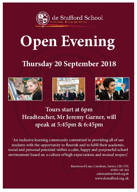 De Stafford School Open Evening 2018 Flyer