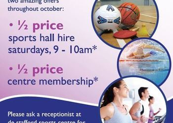 1/2 price offers for students at de Stafford Sports Centre