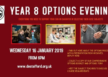 Year 8 Options Evening - Weds 16 January 2019