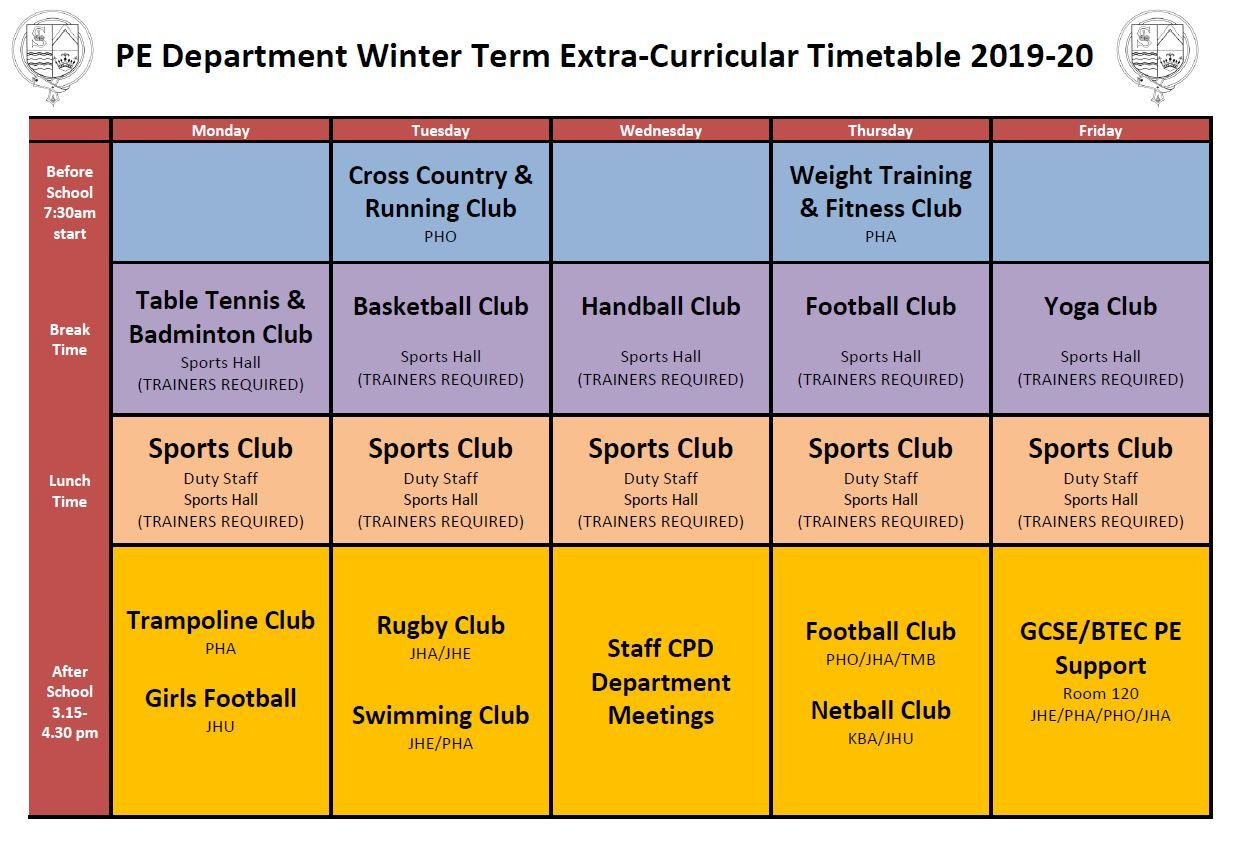 PE Extra Curricular Club Timetable Winter 2019 20