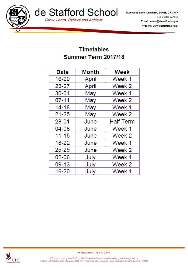 De Stafford School Timetable Weeks Summer Term 2017 18