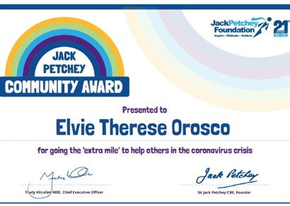 Elvie is a Jack Petchey Community Award winner!