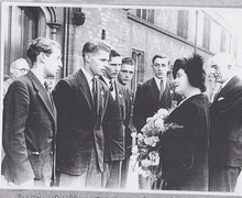 1953 lower sixth boys meet the queen mother at rededication of holborn estate almshouses in tooting