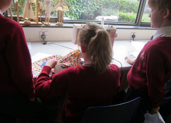 Christchurch Primary School pupils make handbags in textiles department