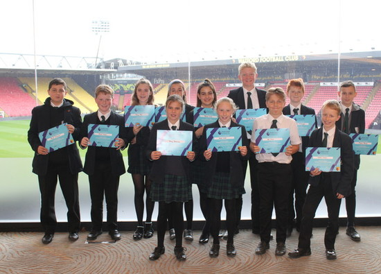 Watford Football Club celebrate students' completion of Enterprise Programme