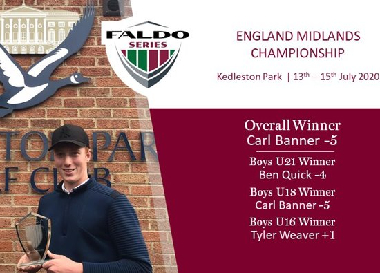 Carl wins Faldo Golf Series to compete in finals in UAE!