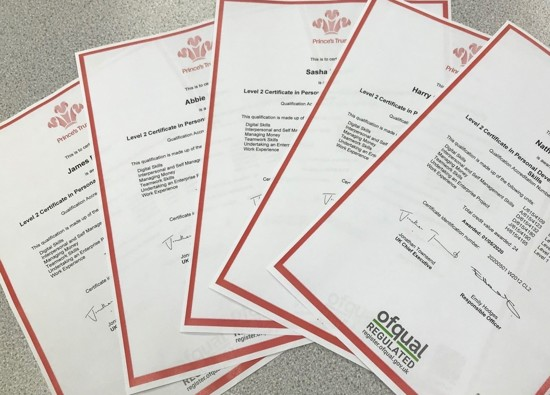 Students achieve accreditation with The Prince's Trust Awards