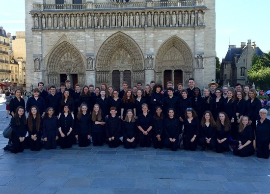 Students perform at Notre Dame Cathedral