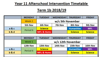 Year 11 Intervention Timetable