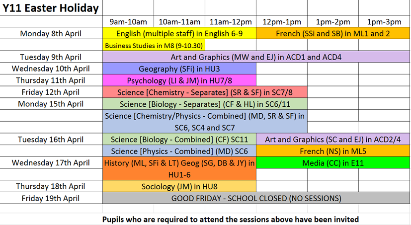 Y11 easter revision sessions