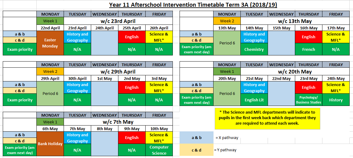 Year 11 3A Revision Timetable