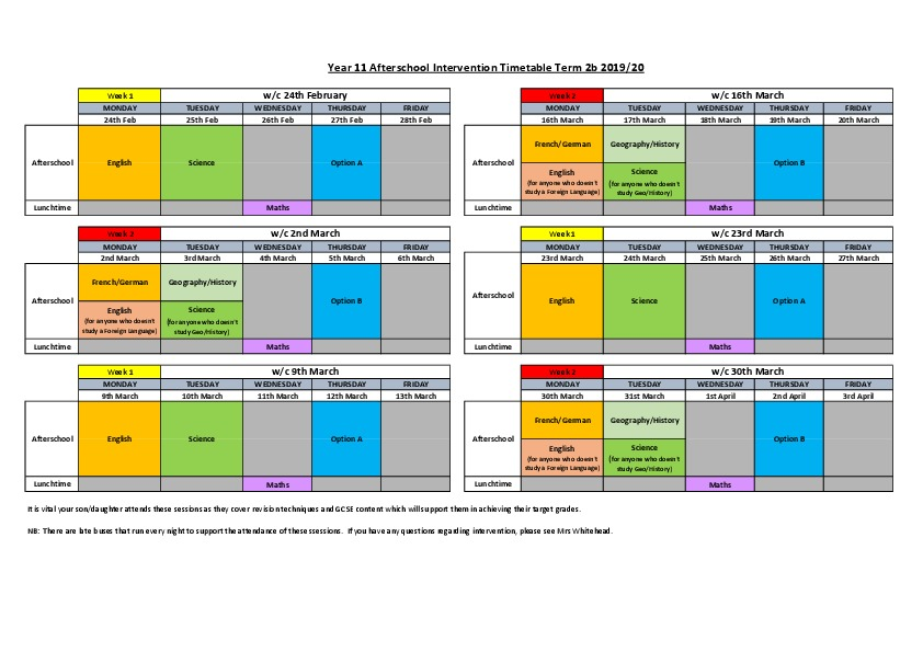 After School Intervention Timetable 2B