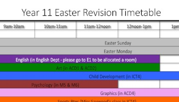 Year 11 Easter Revision Timetable