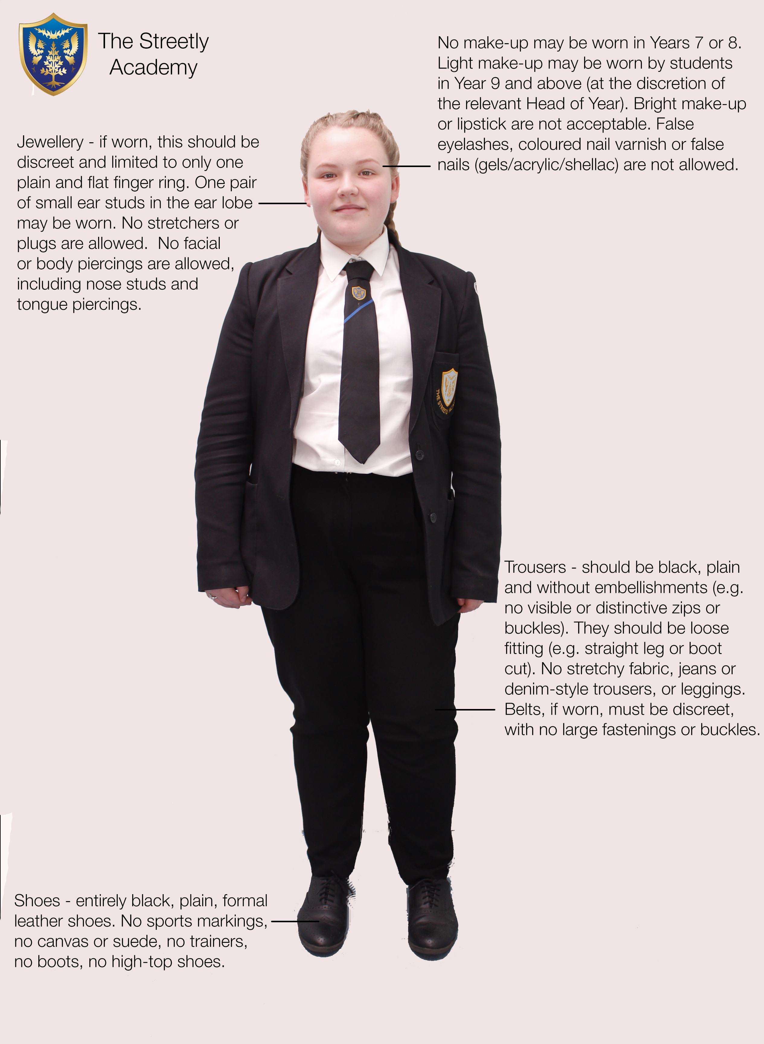 Uniform trousers girl text