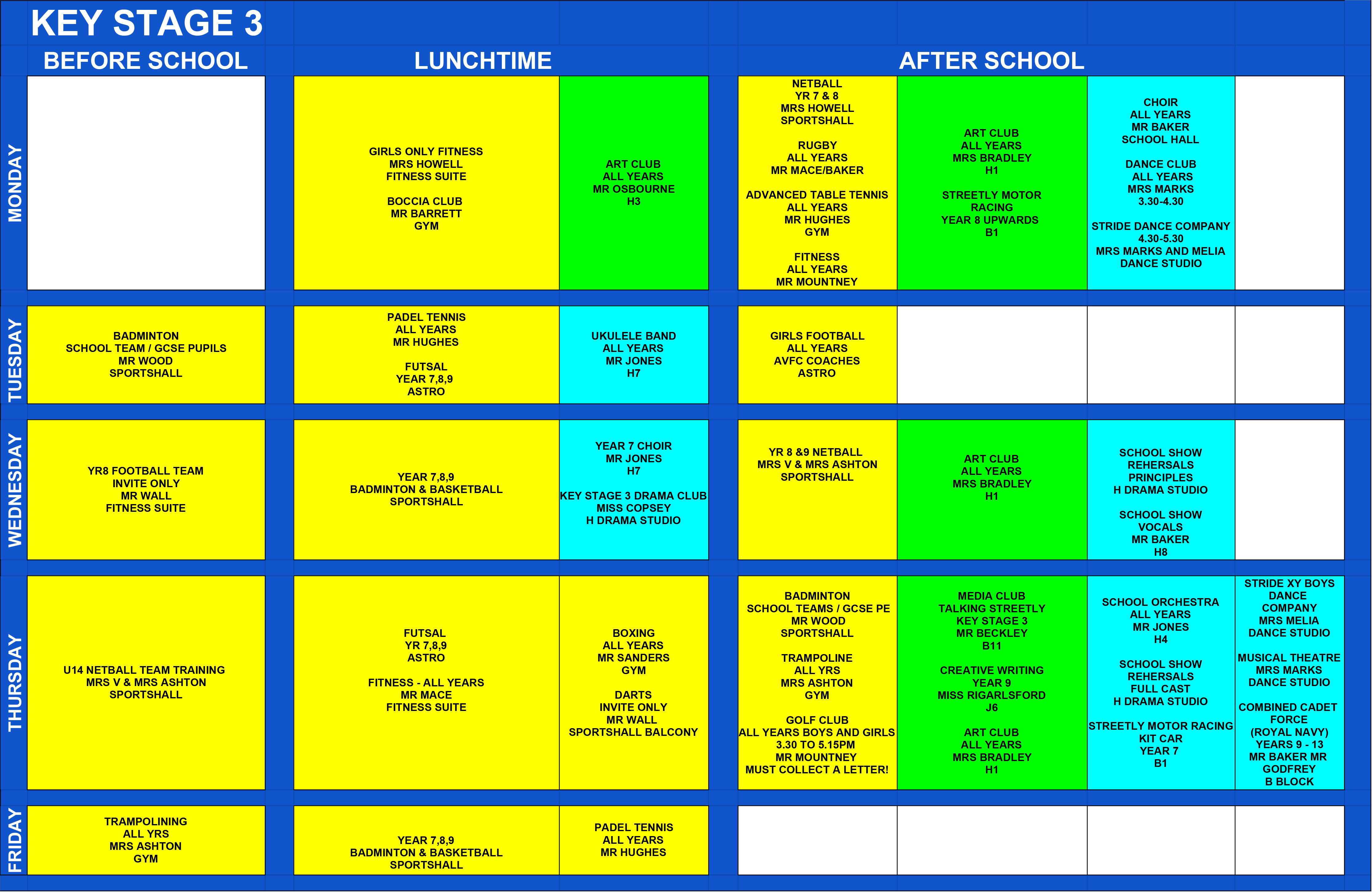 KEY STAGE 3 EXTRA CURRICULAR TIMETABLE 2
