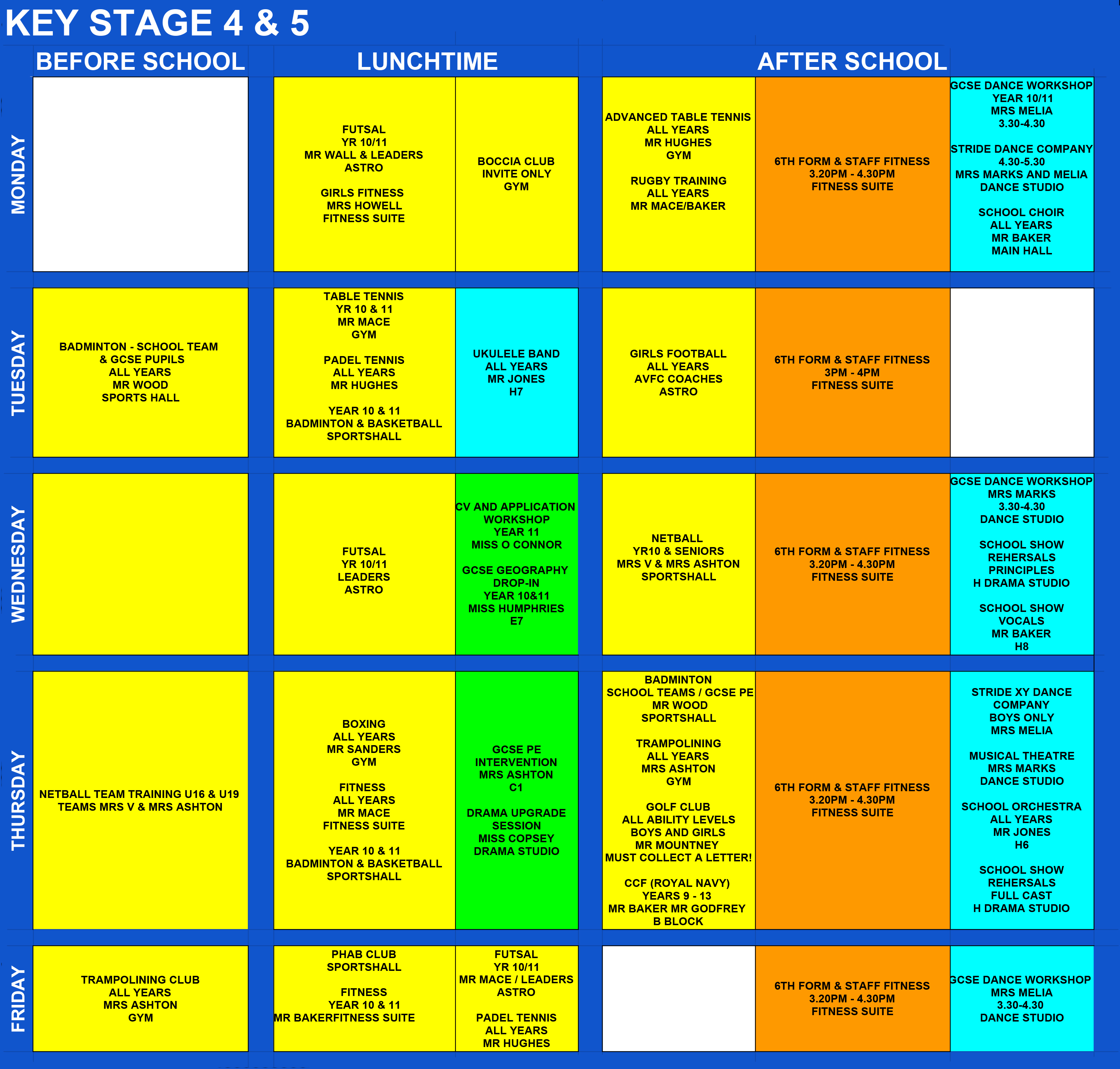 KEY STAGE 4 & 5 EXTRA CURRICULAR TIMETABLE