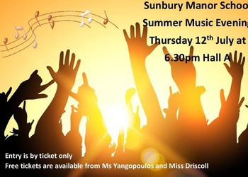 FREE SUMMER MUSIC EVENING TICKETS NOW AVAILABLE