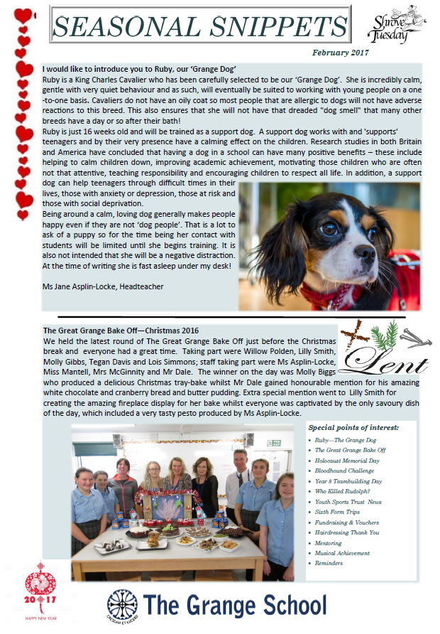 February newsletter snippet picture