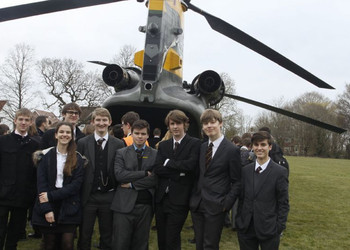 A CH-47D Chinook helicopter visits local school