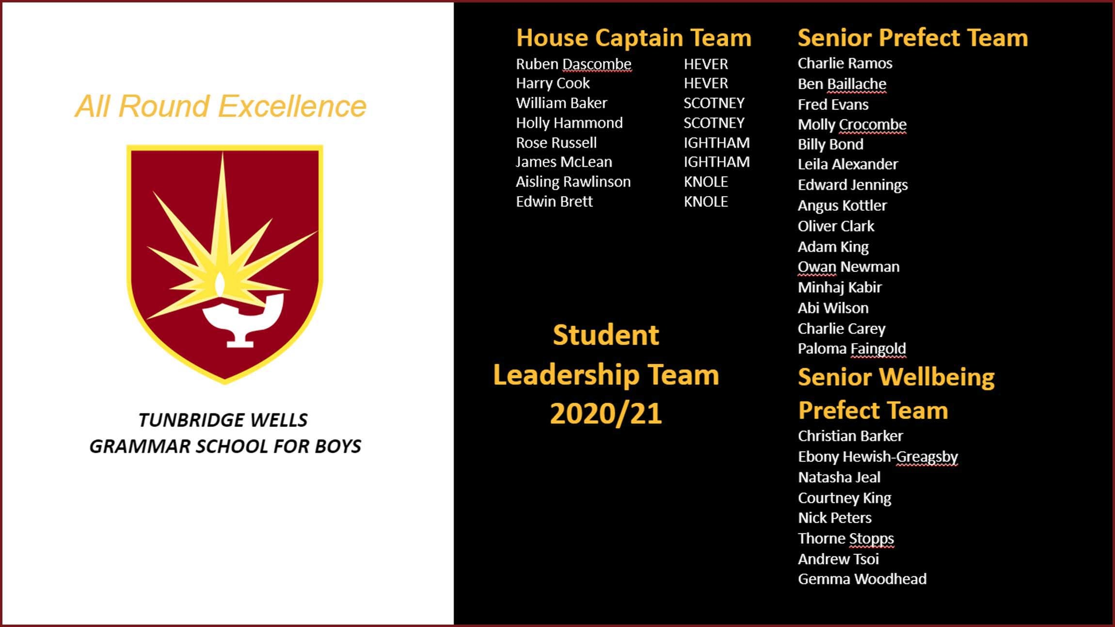 Student leadership team list