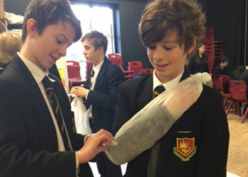 KS3 students practise First Aid