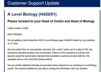 Announcement from OCR Biology