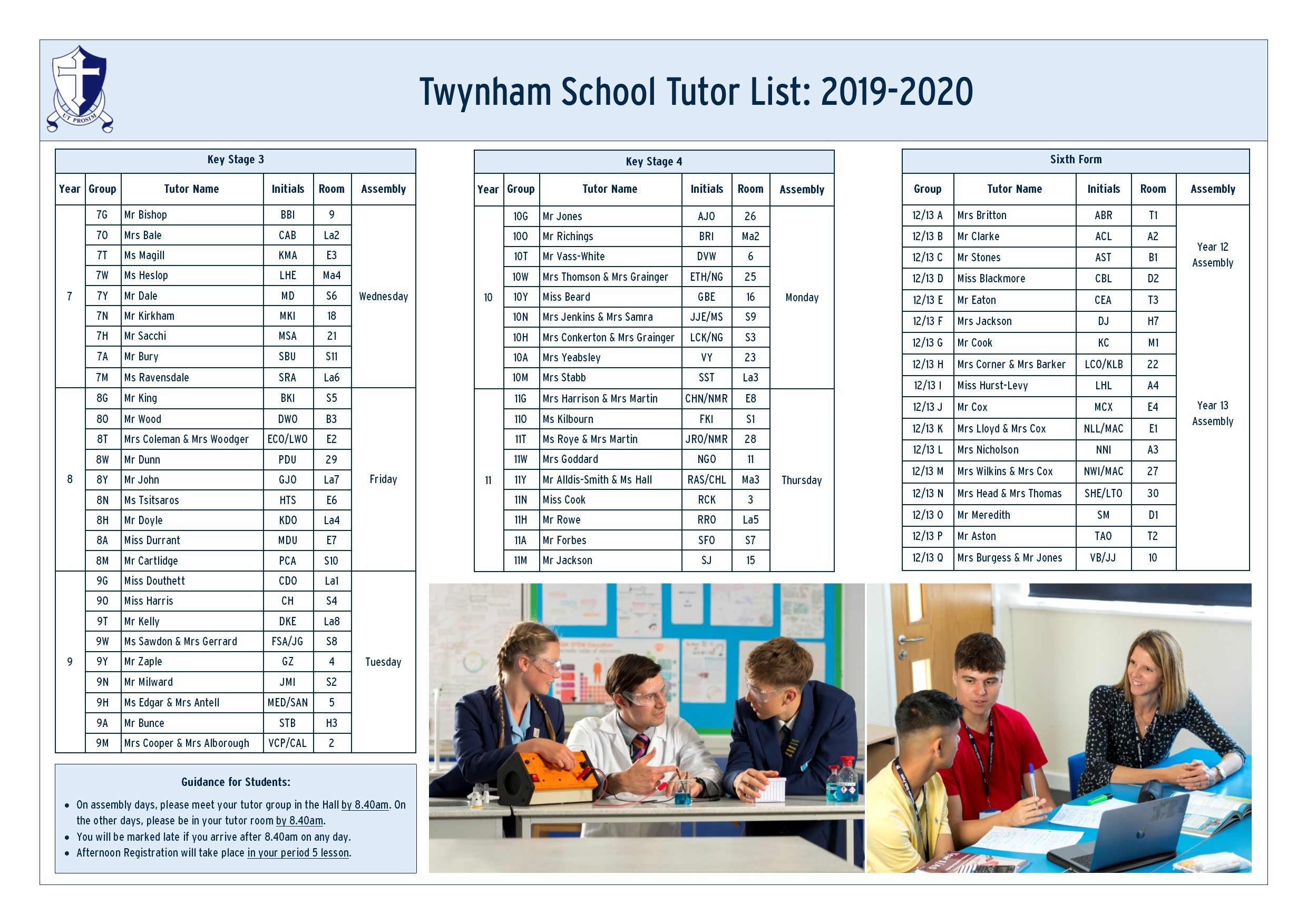 Twynham School Tutor List 2019 2020