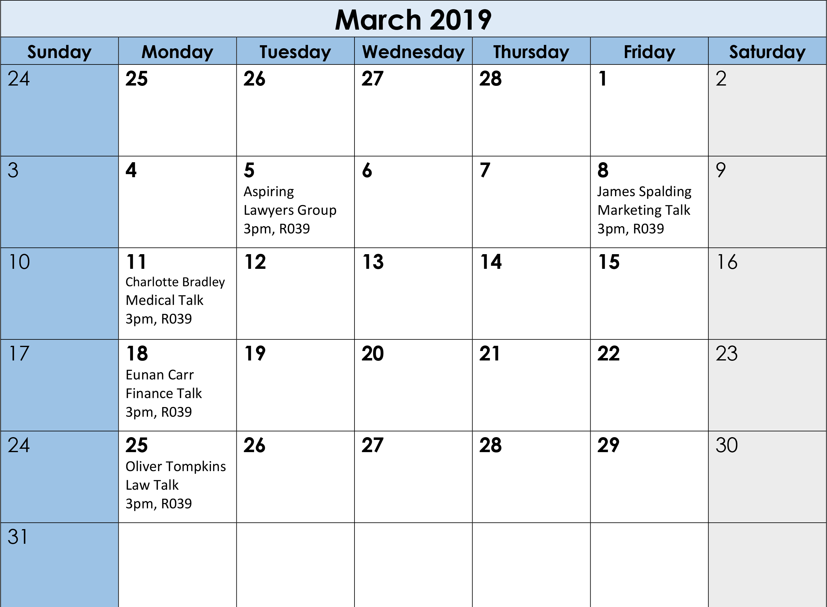 Career Calendar March