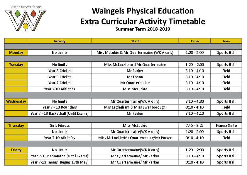 PE 2019 Timetable  Summer Term