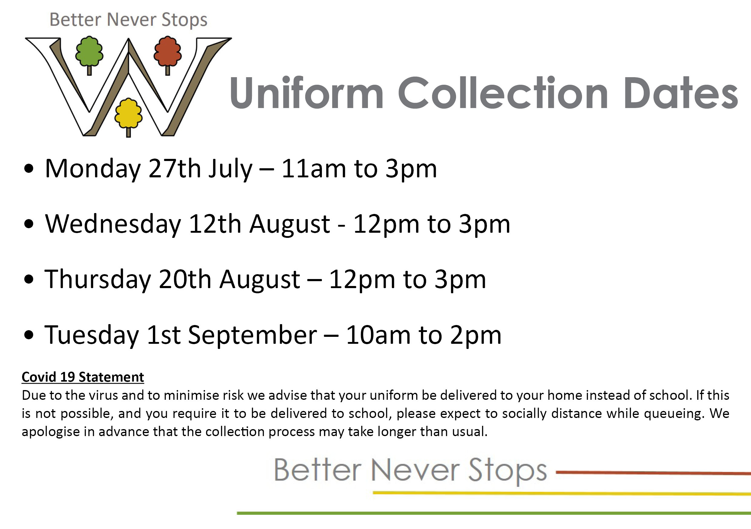 Uniform Collection Dates