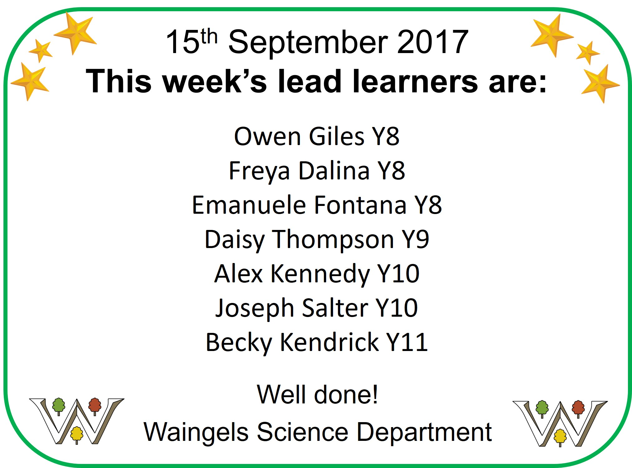 Lead Learners 15th Sept
