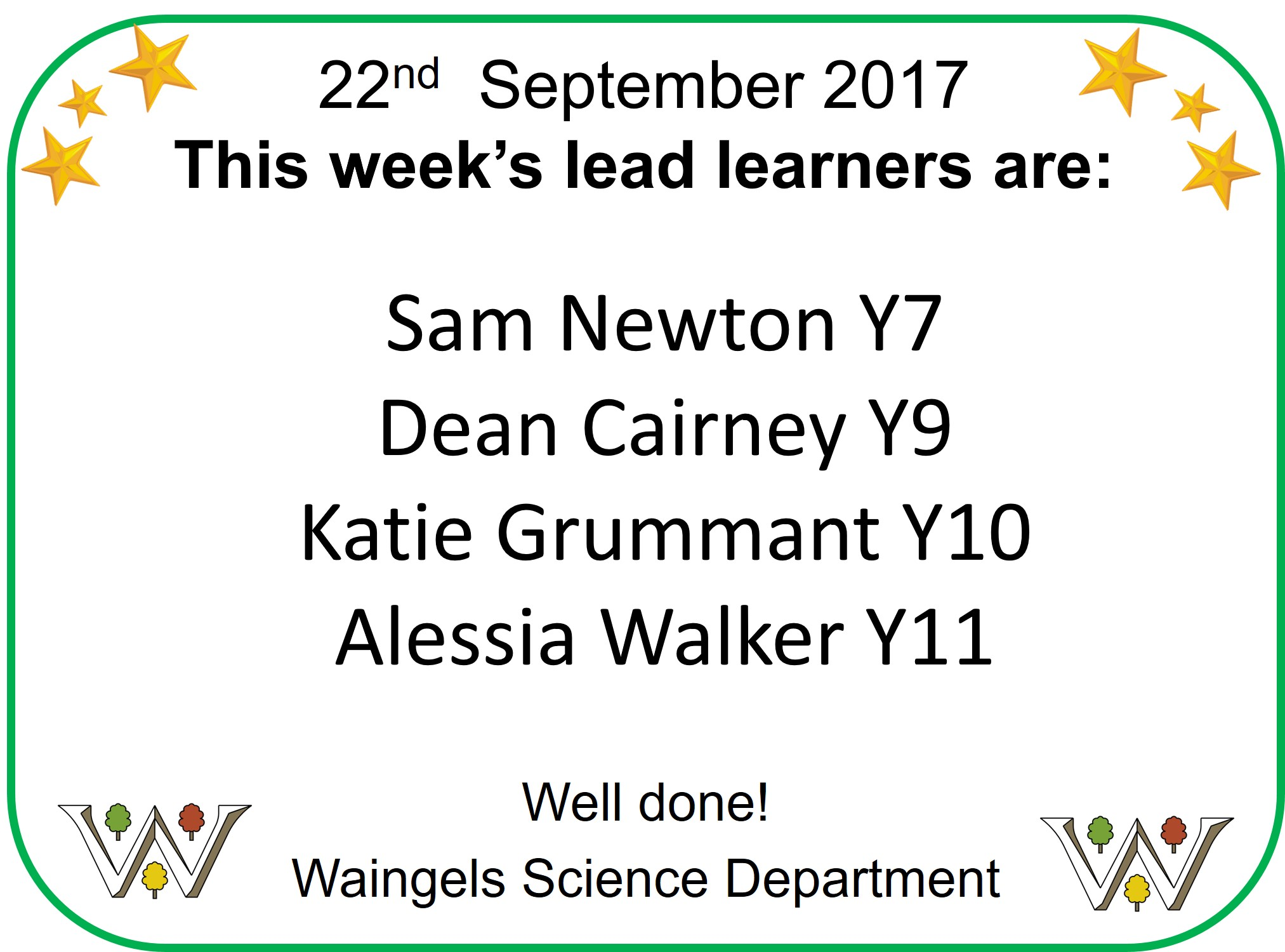Lead Learners 22nd Sept
